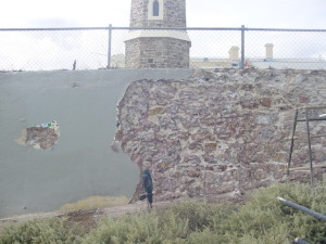 Semaphore Tower Wall Before Repair