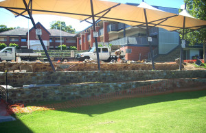 Terraces wall at Mercedes College